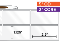 Rectangular Labels, High Gloss White Paper | 1.125 x 2.5 inches, 2-UP | 2 in. core, 5 in. outside diameter