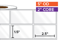 Rectangular Labels, High Gloss White Paper | 1.5 x 2.5 inches, 2-UP | 2 in. core, 5 in. outside diameter