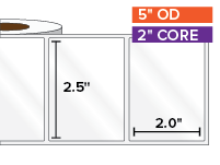 Rectangular Labels, High Gloss White Paper | 2.5 x 2 inches | 2 in. core, 5 in. outside diameter