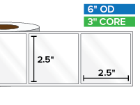 Rectangular Labels, High Gloss White Paper | 2.5 x 2.5 inches | 3 in. core, 6 in. outside diameter