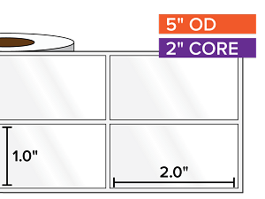 Rectangular Labels, High Gloss BOPP (poly) | 1 x 2 inches, 2-UP | 2 in. core, 5 in. outside diameter
