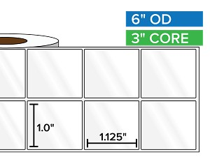 Rectangular Labels, High Gloss White Paper | 1 x 1.125 inches, 2-UP | 3 in. core, 6 in. outside diameter