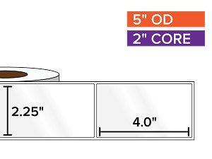 Rectangular Labels, High Gloss White Paper | 2.25 x 4 inches | 2 in. core, 5 in. outside diameter