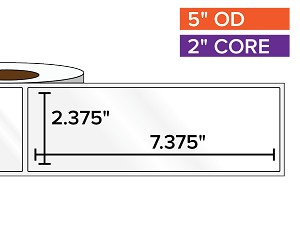 Rectangular Labels, High Gloss White Paper | 2.375 x 7.375 inches | 2 in. core, 5 in. outside diameter
