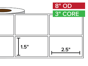 Rectangular Labels, Matte White Paper | 1.5 x 2.5 inches, 2-UP | 3 in. core, 8 in. outside diameter