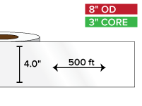 Continuous Label Stock, High Gloss White Paper | 4 in. x 500 ft. | 3 in. core, 8 in. outside diameter
