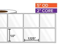 Rectangular Labels, High Gloss BOPP (poly) | 1 x 1.125 inches, 2-UP | 2 in. core, 5 in. outside diameter