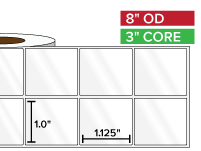 Rectangular Labels, High Gloss BOPP (poly) | 1 x 1.125 inches, 2-UP | 3 in. core, 8 in. outside diameter
