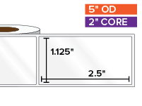 Rectangular Labels, High Gloss BOPP (poly) | 1.125 x 2.5 inches | 2 in. core, 5 in. outside diameter