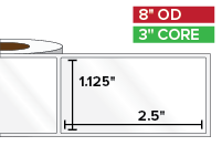 Rectangular Labels, High Gloss BOPP (poly) | 1.125 x 2.5 inches | 3 in. core, 8 in. outside diameter