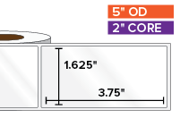 Rectangular Labels, High Gloss BOPP (poly) | 1.625 x 3.75 inches | 2 in. core, 5 in. outside diameter