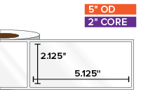 Rectangular Labels, High Gloss BOPP (poly) | 2.125 x 5.125 inches | 2 in. core, 5 in. outside diameter