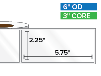 Rectangular Labels, High Gloss BOPP (poly) | 2.25 x 5.75 inches | 3 in. core, 6 in. outside diameter
