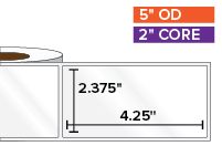 Rectangular Labels, High Gloss BOPP (poly) | 2.375 x 4.25 inches | 2 in. core, 5 in. outside diameter