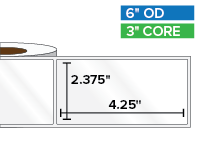 Rectangular Labels, High Gloss BOPP (poly) | 2.375 x 4.25 inches | 3 in. core, 6 in. outside diameter