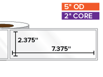 Rectangular Labels, High Gloss BOPP (poly) | 2.375 x 7.375 inches | 2 in. core, 5 in. outside diameter