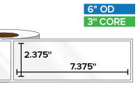 Rectangular Labels, High Gloss BOPP (poly) | 2.375 x 7.375 inches | 3 in. core, 6 in. outside diameter