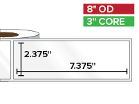 Rectangular Labels, High Gloss BOPP (poly) | 2.375 x 7.375 inches | 3 in. core, 8 in. outside diameter