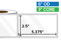 Rectangular Labels, High Gloss BOPP (poly) | 2.5 x 5.375 inches | 3 in. core, 6 in. outside diameter