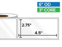Rectangular Labels, High Gloss BOPP (poly) | 2.75 x 4.5 inches | 3 in. core, 6 in. outside diameter
