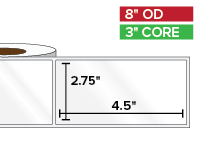 Rectangular Labels, High Gloss BOPP (poly) | 2.75 x 4.5 inches | 3 in. core, 8 in. outside diameter