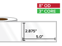 Rectangular Labels, High Gloss BOPP (poly) | 2.875 x 5 inches | 3 in. core, 8 in. outside diameter