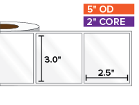 Rectangular Labels, High Gloss BOPP (poly) | 3 x 2.5 inches | 2 in. core, 5 in. outside diameter