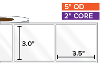 Rectangular Labels, High Gloss BOPP (poly) | 3 x 3.5 inches | 2 in. core, 5 in. outside diameter