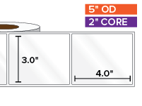 Rectangular Labels, High Gloss BOPP (poly) | 3 x 4 inches | 2 in. core, 5 in. outside diameter