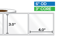 Rectangular Labels, High Gloss BOPP (poly) | 3 x 4 inches | 3 in. core, 6 in. outside diameter