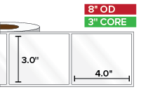 Rectangular Labels, High Gloss BOPP (poly) | 3 x 4 inches | 3 in. core, 8 in. outside diameter