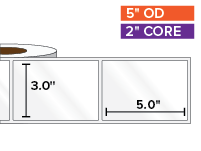 Rectangular Labels, High Gloss BOPP (poly) | 3 x 5 inches | 2 in. core, 5 in. outside diameter