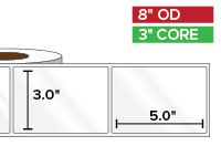 Rectangular Labels, High Gloss BOPP (poly) | 3 x 5 inches | 3 in. core, 8 in. outside diameter
