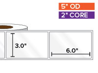 Rectangular Labels, High Gloss BOPP (poly) | 3 x 6 inches | 2 in. core, 5 in. outside diameter