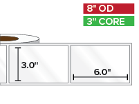 Rectangular Labels, High Gloss BOPP (poly) | 3 x 6 inches | 3 in. core, 8 in. outside diameter