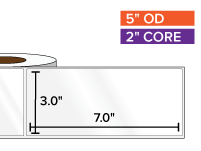 Rectangular Labels, High Gloss BOPP (poly) | 3 x 7 inches | 2 in. core, 5 in. outside diameter