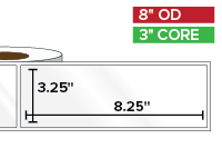 Rectangular Labels, High Gloss BOPP (poly) | 3.25 x 8.25 inches | 3 in. core, 8 in. outside diameter