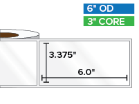 Rectangular Labels, High Gloss BOPP (poly) | 3.375 x 6 inches | 3 in. core, 6 in. outside diameter