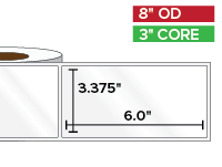 Rectangular Labels, High Gloss BOPP (poly) | 3.375 x 6 inches | 3 in. core, 8 in. outside diameter