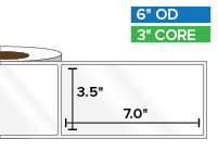 Rectangular Labels, High Gloss BOPP (poly) | 3.5 x 7 inches | 3 in. core, 6 in. outside diameter