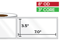 Rectangular Labels, High Gloss BOPP (poly) | 3.5 x 7 inches | 3 in. core, 8 in. outside diameter