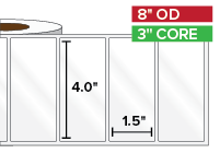 Rectangular Labels, High Gloss BOPP (poly) | 4 x 1.5 inches | 3 in. core, 8 in. outside diameter
