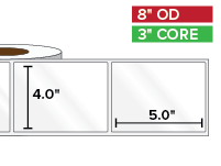 Rectangular Labels, High Gloss BOPP (poly) | 4 x 5 inches | 3 in. core, 8 in. outside diameter