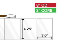 Rectangular Labels, High Gloss BOPP (poly) | 4.25 x 3 inches | 3 in. core, 8 in. outside diameter
