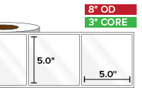Rectangular Labels, High Gloss BOPP (poly) | 5 x 5 inches | 3 in. core, 8 in. outside diameter