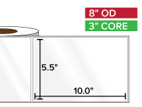 Rectangular Labels, High Gloss BOPP (poly) | 5.5 x 10 inches | 3 in. core, 8 in. outside diameter