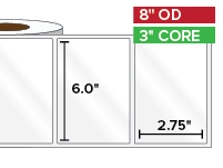 Rectangular Labels, High Gloss BOPP (poly) | 6 x 2.75 inches | 3 in. core, 8 in. outside diameter