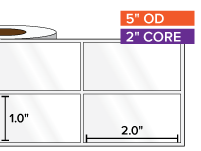 Rectangular Labels, High Gloss White Paper | 1 x 2 inches, 2-UP | 2 in. core, 5 in. outside diameter