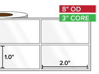 Rectangular Labels, High Gloss White Paper | 1 x 2 inches, 2-UP | 3 in. core, 8 in. outside diameter