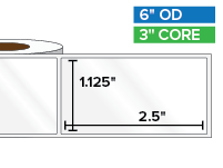 Rectangular Labels, High Gloss White Paper | 1.125 x 2.5 inches | 3 in. core, 6 in. outside diameter